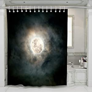 BEISISS Christmas Shower Curtain Lua Com Nuvens Perfect for Bathroom Decor with Hooks,72Wx72L