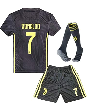 Juventus Kids Youth Away  7 Ronaldo Soccer Jersey and Shorts and Socks 18  7815e71d6