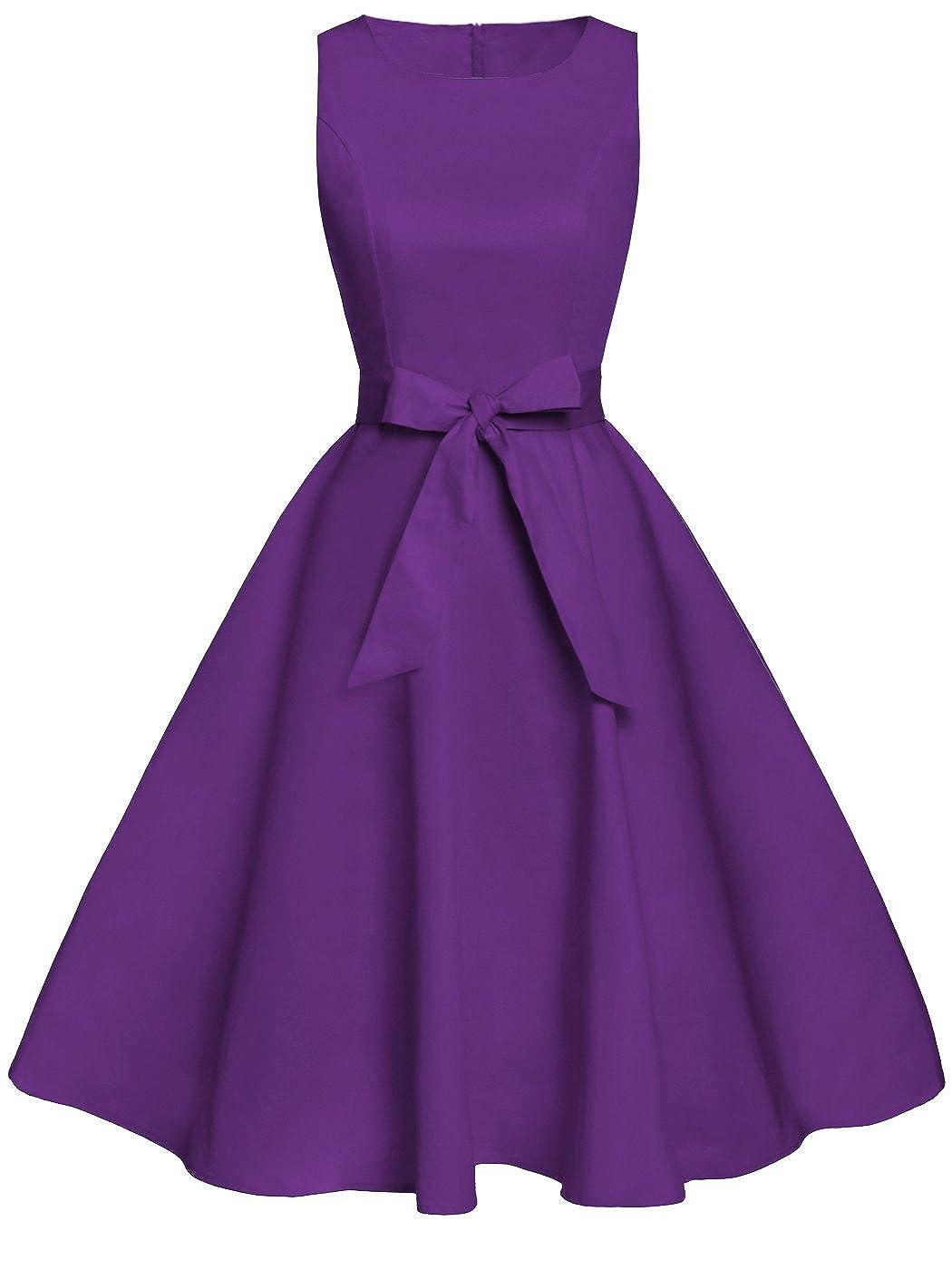 TALLA XL. FAIRY COUPLE 50s Vestido de Partido Floral Retro del Oscilación del Cóctel del Vintage con el Arco DRT017 Púrpura XL