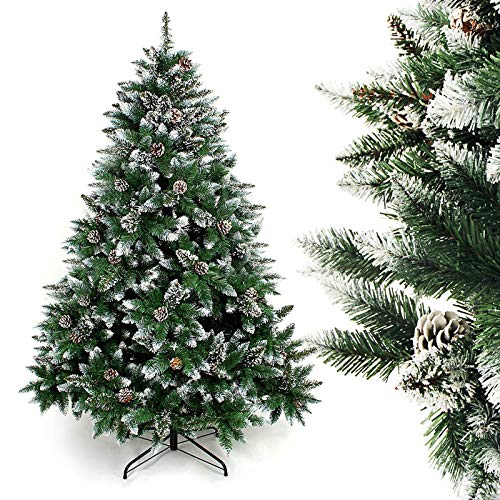 Homde Artificial Christmas Tree 6 feet with Flocked Snow Pine Cone (Tree Pine Artificial Christmas)
