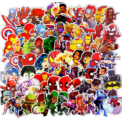Vinyl Graffiti Stickers for Kids(100pcs),Superhero Cartoon Stickers for Kids,Waterproof Decals for Water Bottles,Teachers,Cars,Motorcycle,Bicycle,Skateboard(Not Random)