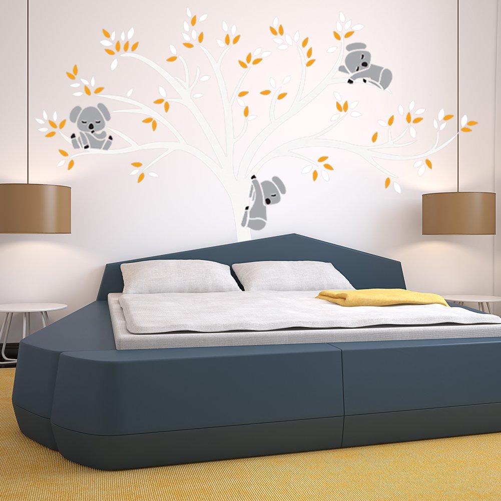 Ishine Sticker Muraux Arbre Blanc Feuille Jaune Koala Dessin