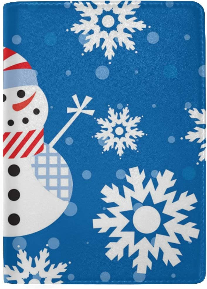 Blue Personalized Snowman Snowflake Leather Passport Holder Cover Case Blocking Travel Wallet