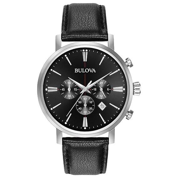 ceec4dbc07b6 Bulova Classic Aerojet 96B262 - Reloj de Pulsera de Diseño para Hombre -  Función de Cronógrafo - Correa de Cuero - Negro  Amazon.es  Relojes