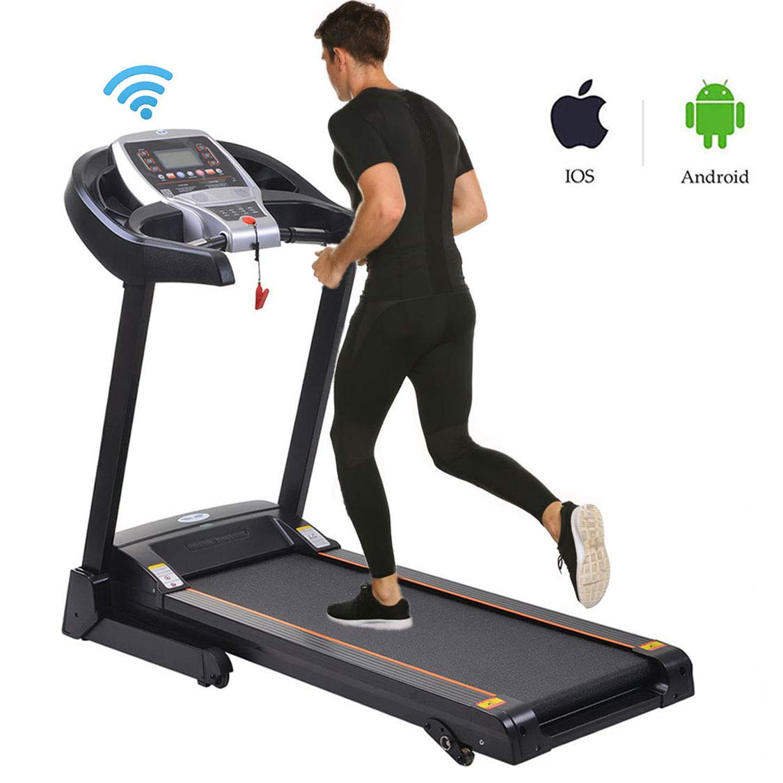 Miageek Fitness Folding Electric Jogging Treadmill with Smartphone APP Control, Walking Running Exercise Machine Incline Trainer Equipment Easy Assembly (2.25 HP - Black) by Miageek (Image #1)