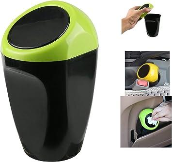 Timorn Auto Mülleimer Auto Müllbehälter Mini Mülleimer Mit Federabdeckung Perfekte Passform Für Die Auto Center Konsole Lagerung Von Münzen Stift Und ändern Grün Auto