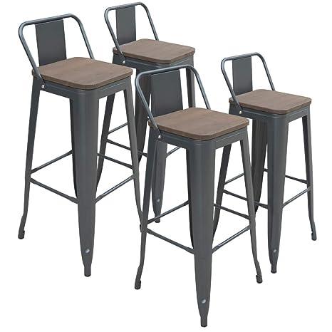 Incredible Amazon Com H Jinhui 30 Inches Metal Bar Stools Set Of 4 Creativecarmelina Interior Chair Design Creativecarmelinacom