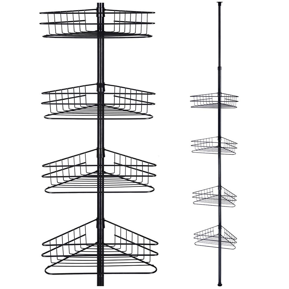 Yinmake 4 tier Telescopic shower caddy organiser, non rust metal corner bathroom shelves storage rack with basket(Black)