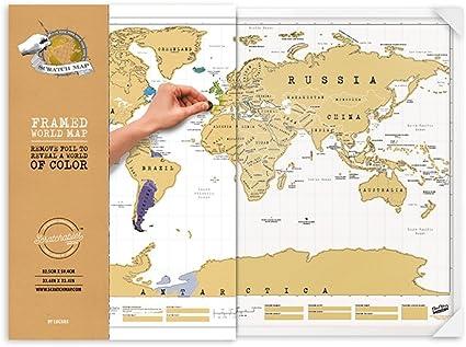 Luckies of London LUSCRFRA Original - Mapa para arañazos enmarcado: Amazon.es: Oficina y papelería