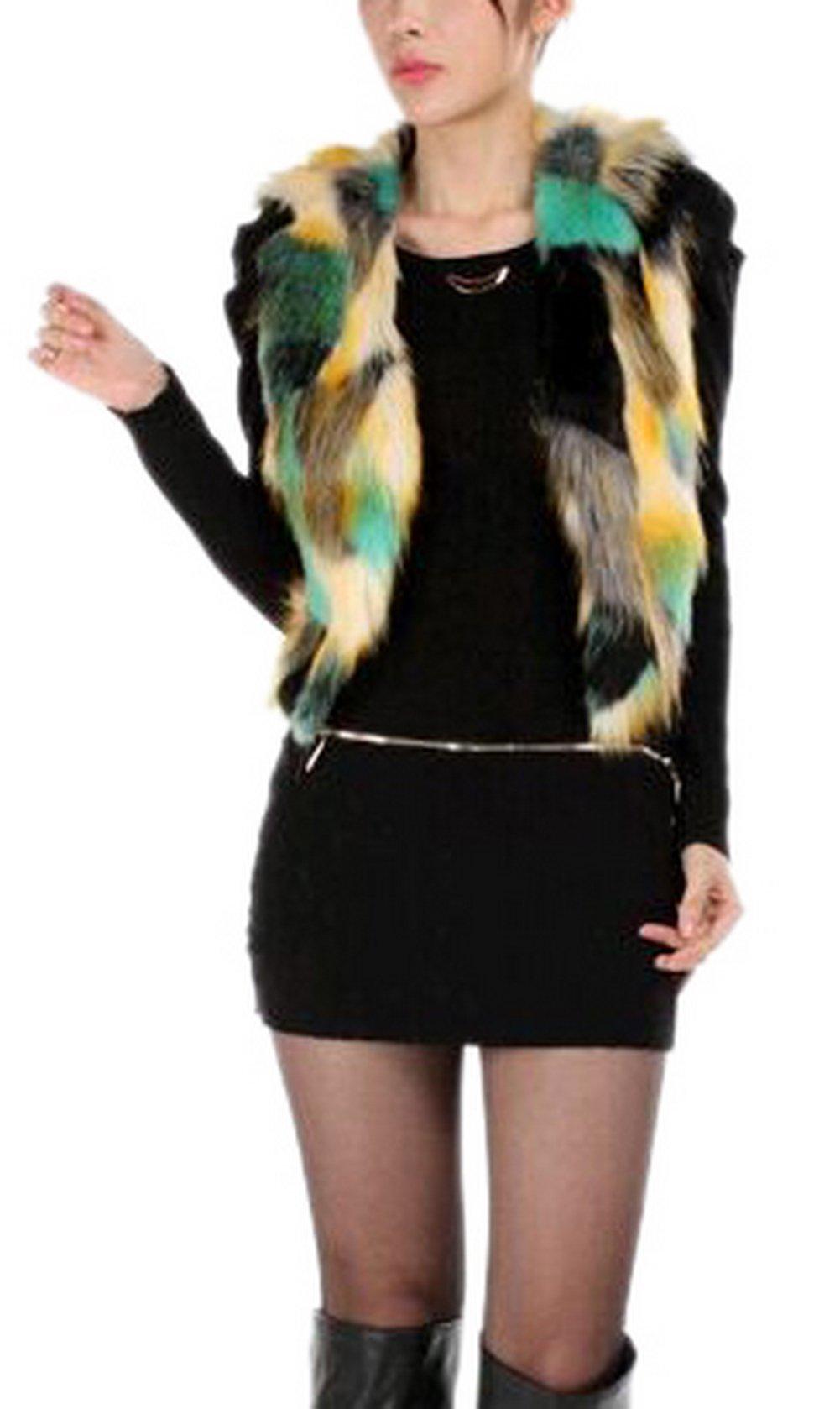 Enlishop Women V Neck Short Colorful Cropped Jacket Faux Fur Vest Cardigan Green