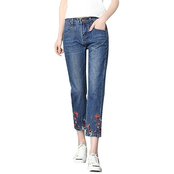 Auspiciousi Flores Bordadas Jeans Mujeres 2018 Moda Mom ...