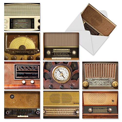 (10 Note Cards with Envelopes - Assorted 'Radio Days' Blank Greeting Cards - Vintage All-Occasion Cards for Birthday, Graduation, Thank You - Stationery Notecards (4 x 5.12 Inch) - NobleWorks M3086)