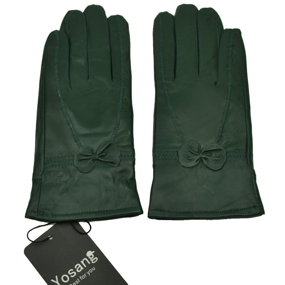 Yosang Women Luxury Winter Genuine Leather Lined Gloves w/ Bowknot Dark Green Large by Yosang (Image #1)