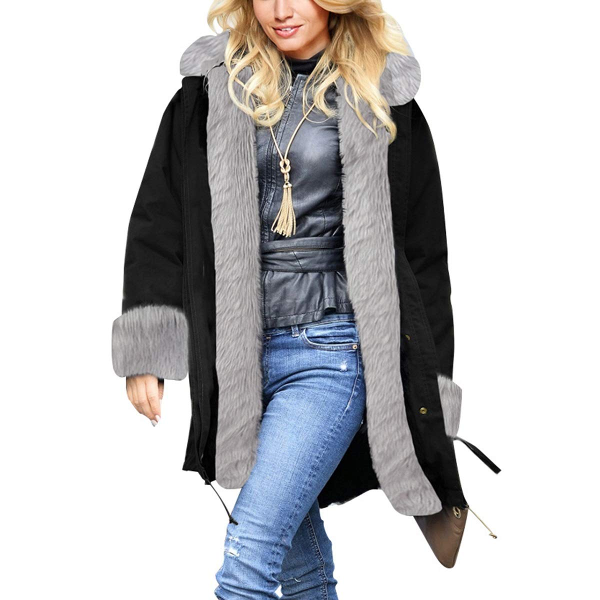 Black4 Womens Winter Warm Thicken Long Sleeve Faux Fur Collar Hooded Parka Jacket Coat