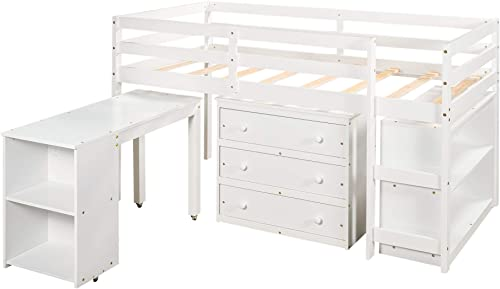 Merax Twin Loft Bed Low Study Twin Size Bed