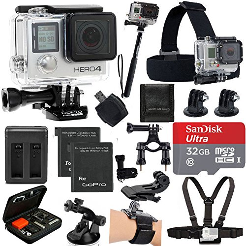 GoPro HERO4 Black Edition Camera HD Camcorder With Deluxe Carrying Case + Head Strap + Chest Strap + 2 Battery And Dual Charger + 32GB SDHC MicroSD Memory Card Complete Deluxe Accessory Bundle by PHOTO4LESS