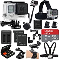 GoPro HERO4 Black Edition Camera HD Camcorder With Deluxe Carrying Case + Head Strap + Chest Strap + 2 Battery And Dual Charger + 32GB SDHC MicroSD Memory Card Complete Deluxe Accessory Bundle