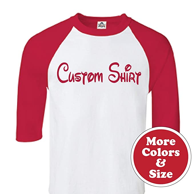 e230a5d5 Custom Walt Disney Style Raglan Baseball T-Shirt with Your Text C02 ...