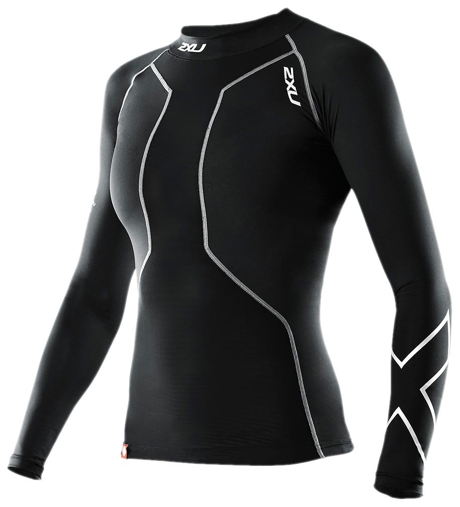 2XU Women's Swimmers Compression Long Sleeve Top (Black/Black, X-Small)
