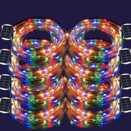 LED String Lights, 100 LED Copper Wire Fairy Blinking Twinkle Starry Waterproof Tree Outdoor Yard Patio Garden And For Holiday Christmas Party Wedding Decorative Light Colorful 8PACK by POPPAP
