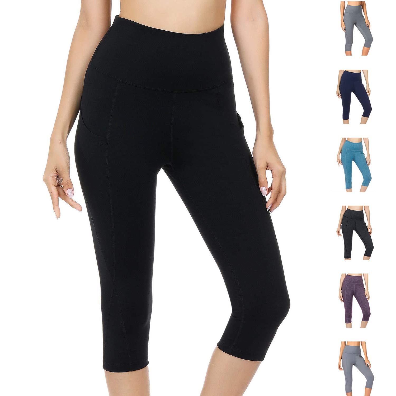 WateLves Legging pour Femme Pantalon de Yoga Gym 3 4 Taille Haute Capri Course  à Pied Court Pantalon avec Poches e50ff23e068