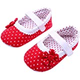 DZT1968® Baby Girl Cloth Soft Sole Round Dot Prewalker Mary Jane Shoes With Flower
