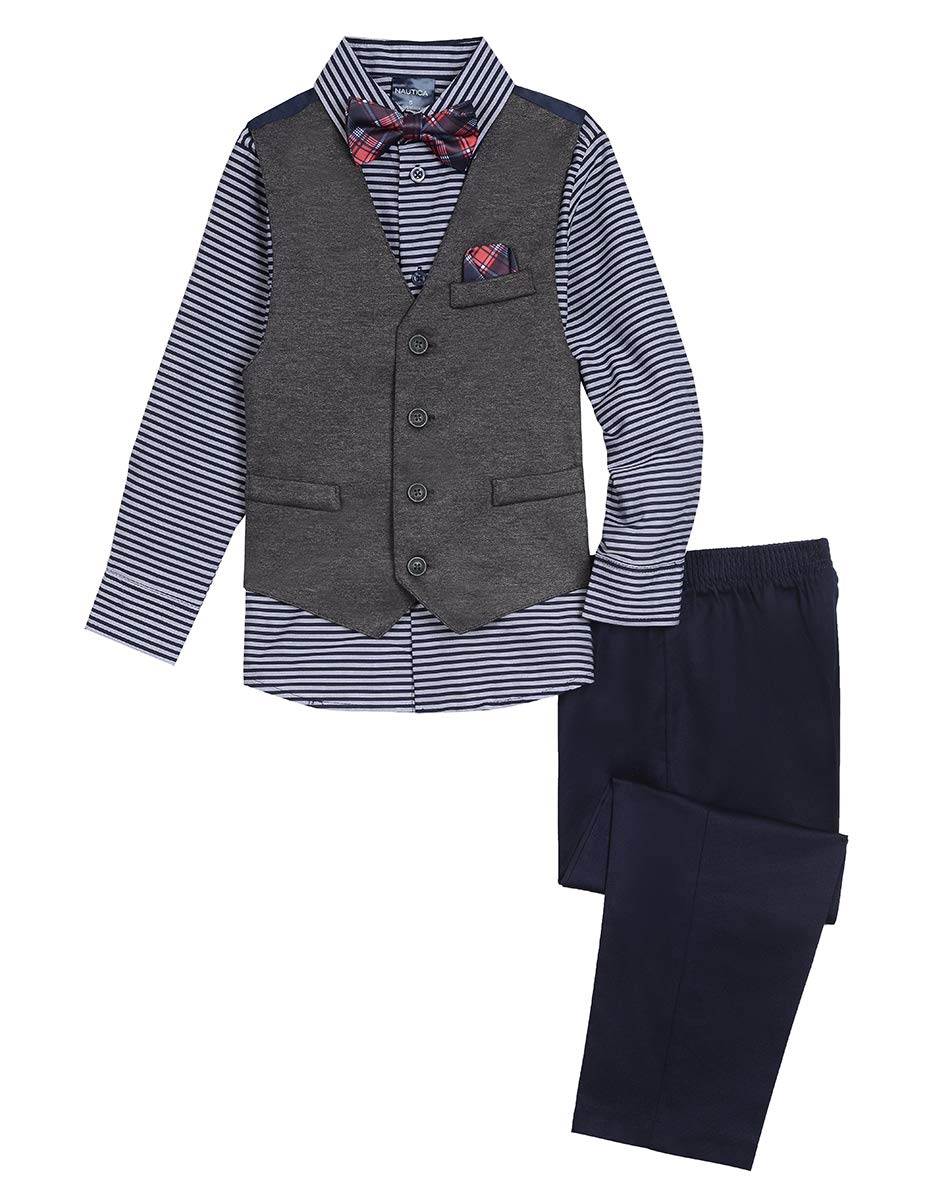 Nautica Boys' 4-Piece Vest Set with Dress Shirt, Bow Tie, Vest, and Pants, retro fox navy blue, 3T
