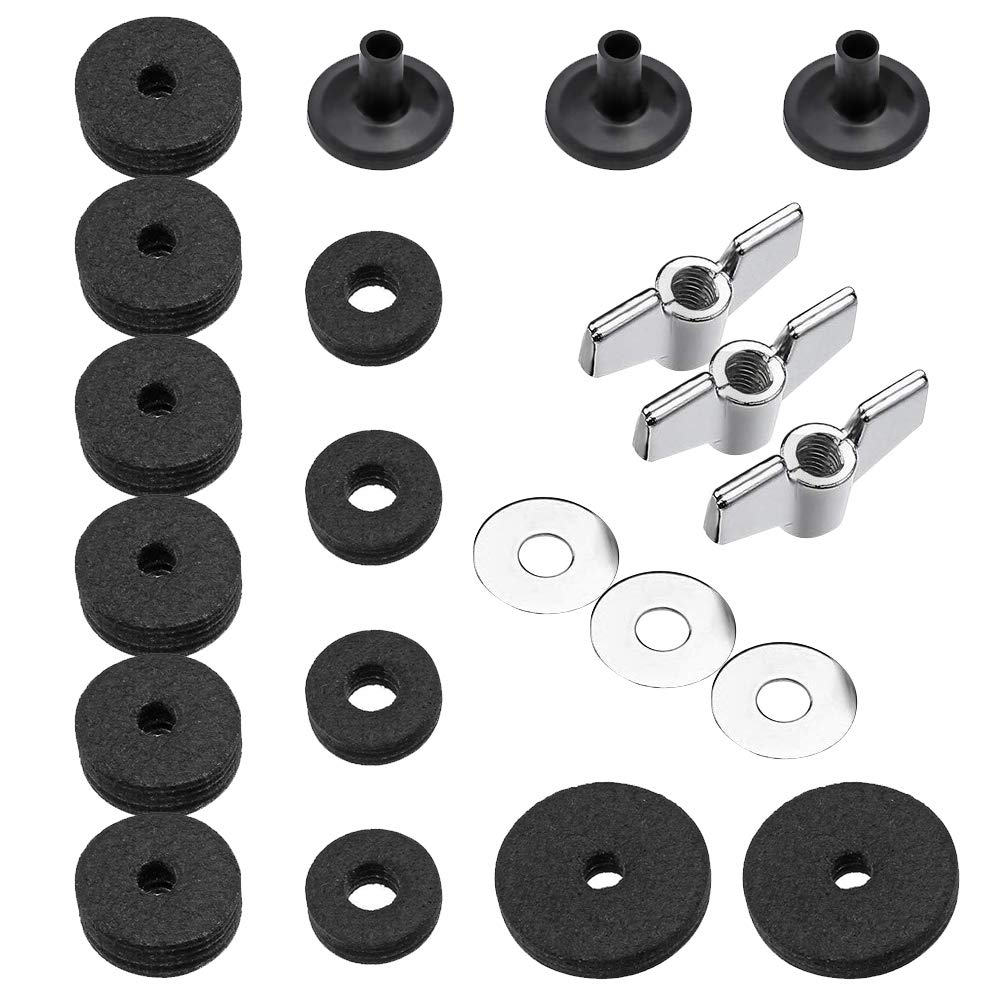 21Pcs Cymbal Replacement Accessories, Uspacific Cymbal Felts Hi-Hat Clutch Felt Hi Hat Cup Felt Cymbal Sleeves with Base Wing Nuts and Cymbal Washer for cymbal stackers