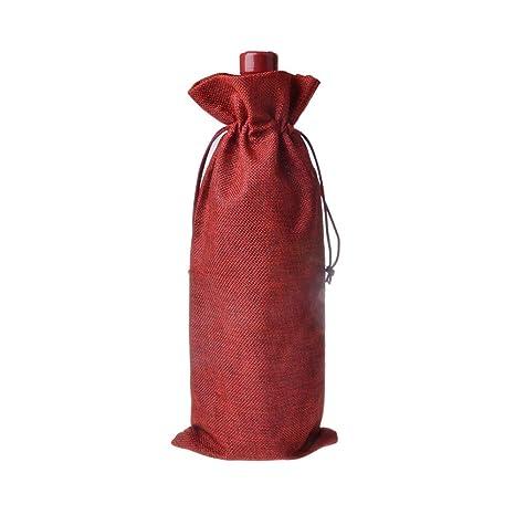 TAKEMORE7 - Funda para Botella de Vino, diseño rústico de Yute Natural, Bolsas de Vino con cordón, Bolsas de Regalo para Botellas de Vino, Rojo Vino, ...