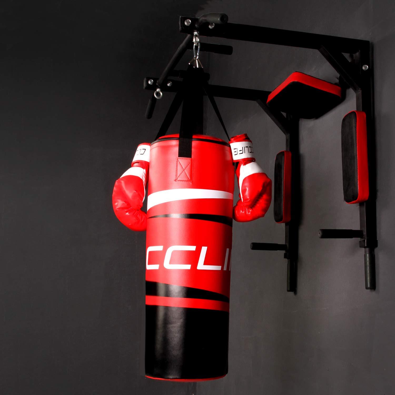 CCLIFE Set Sac de Frappe 72x25cm pour Enfant Rempli 8,6 kg avec Cha/îne /à Suspension Boxe de Gants en Cuir Artificiel 8 OZ
