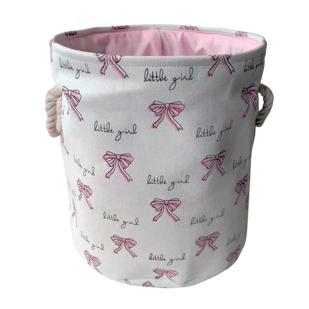 Fieans Cotton Canvas Toys Storage Bin Foldable Round Laundry Basket for Nursery, Dorm, Home - Bowknots, White