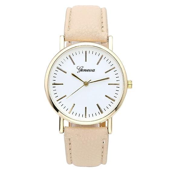 bastante agradable 7864e d2f39 JSDDE Reloj de Cuarzo de Ginebra para Mujer Reloj de Pulsera Elegante  Analógico con Correa de Cuero PU Reloj Dorado para Negocios, Beige