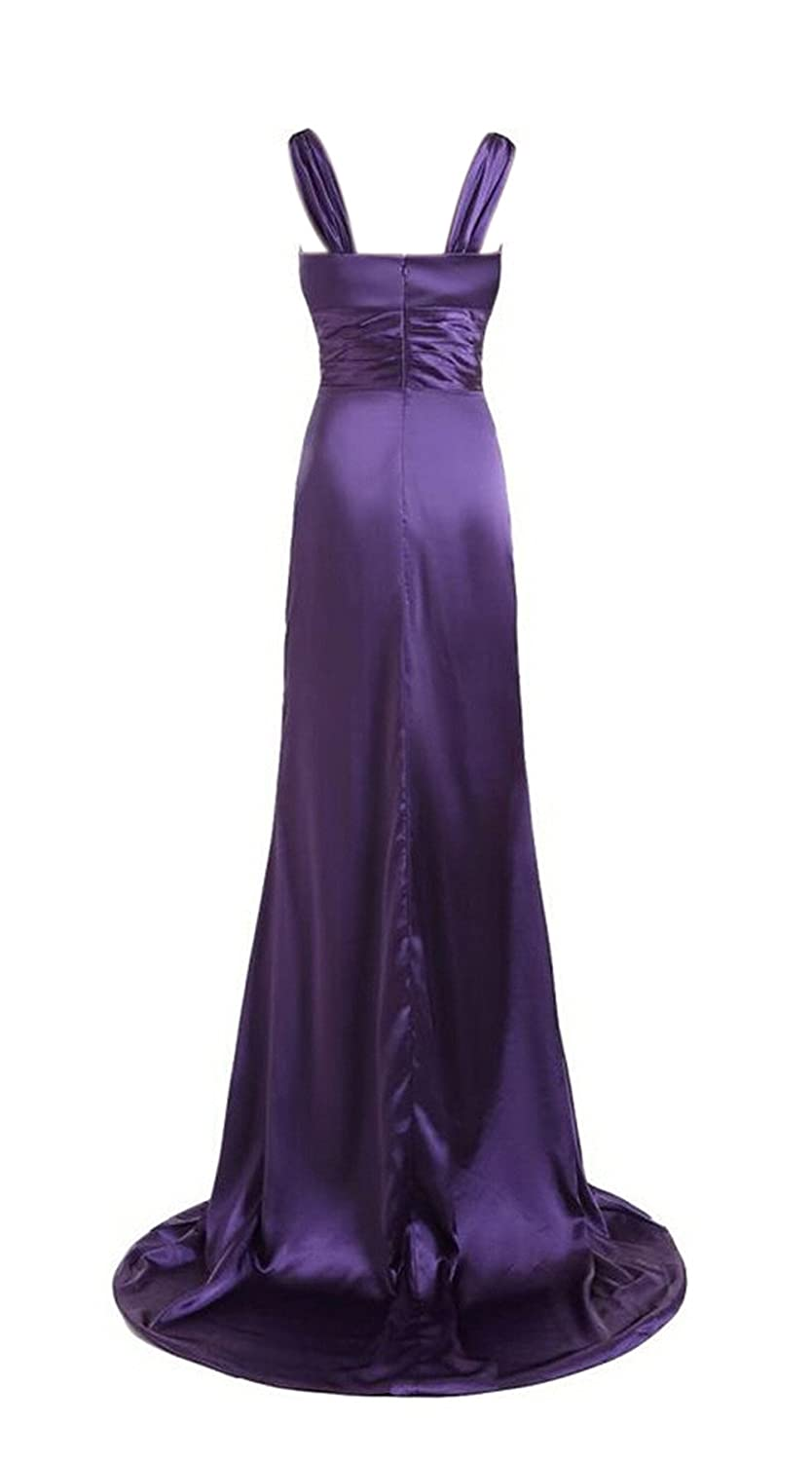 AngelDragon Noble V-Neck Evening Dress Long Party Prom Satin Formal Gowns