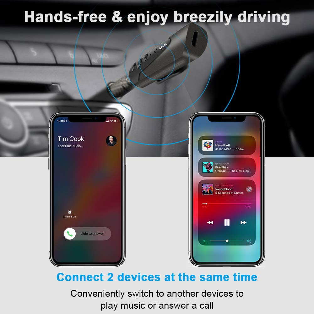 Hands-Free Audio Car Kits with 3.5mm Jack Stereo Output Bluetooth Adapter,Portable Wireless Bluetooth Aux Headphones Adapter with Clips Design Bluetooth Receiver