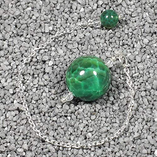 Green Veins Agate - Green Dragon Vein Agate Crystal Sphere Pendulum, with Green Dragon Vein Finger Grip, SSP68