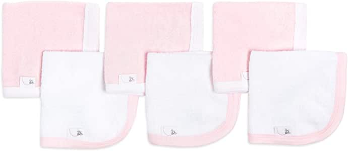 Burt's Bees Baby - Washcloths, Absorbent Knit Terry, Super Soft 100% Organic Cotton (Blossom, 6-Pack)