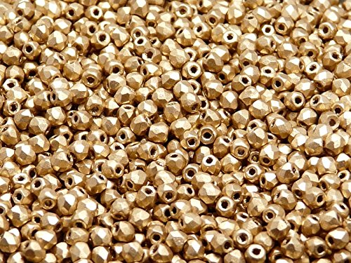 Beads Round Crystal Firepolish - 100 Pcs Czech Fire-polished Faceted Glass Beads Round 3mm Bronze Pale Gold Matte