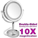 """Espejo 10X Ampliación 8.5"""" Pulgadas - Doble Cara Iluminación LED para Cosmética Maquillaje Afeitar"""