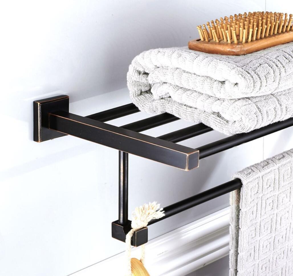 新しいスタイルの黒のバスルームのハードウェアアクセサリー黒青銅工芸真鍮の正方形のハードウェアペンダントタオルラック B07F5D6QKY