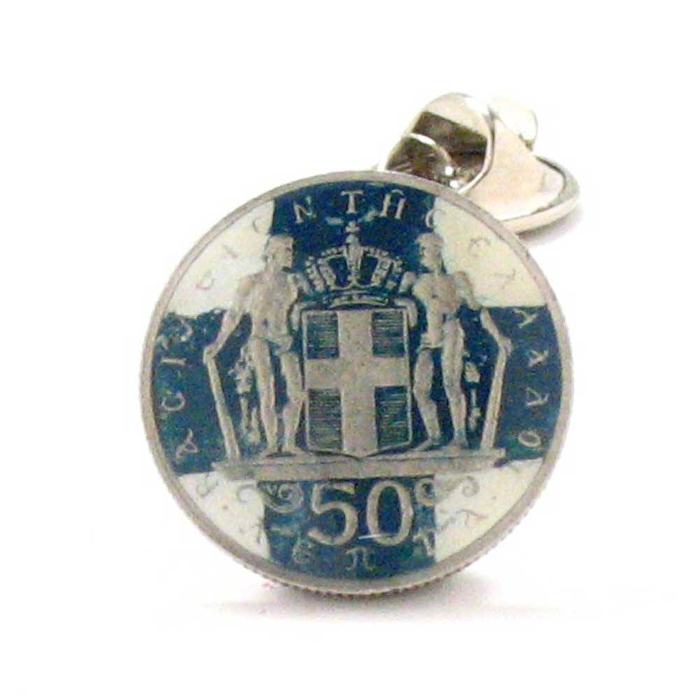 Greece Coin Tie Tack Lapel Pin Suit Flag Greek Athens Sparta Jewelry Gift Wedding Vacation Souvenir