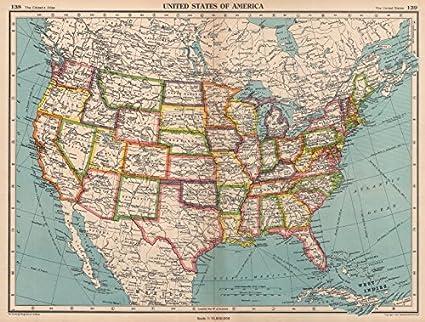 Amazon.com: USA. United States of America. State map. BARTHOLOMEW ...