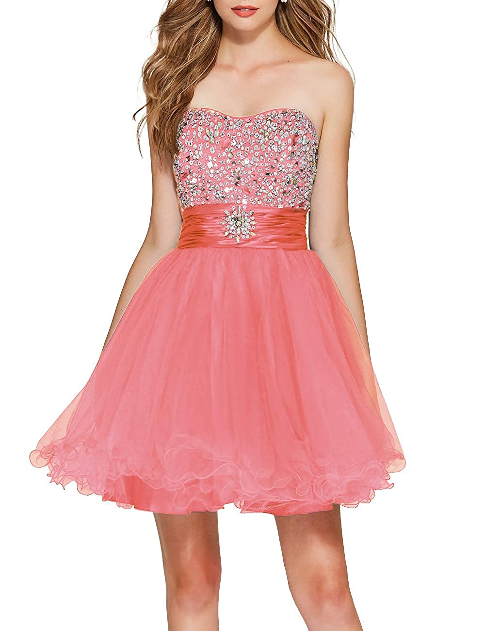 Coral Uther Girls Sweetheart Bridesmaid Dresses Beaded Homecoming Dress Short Prom Gown
