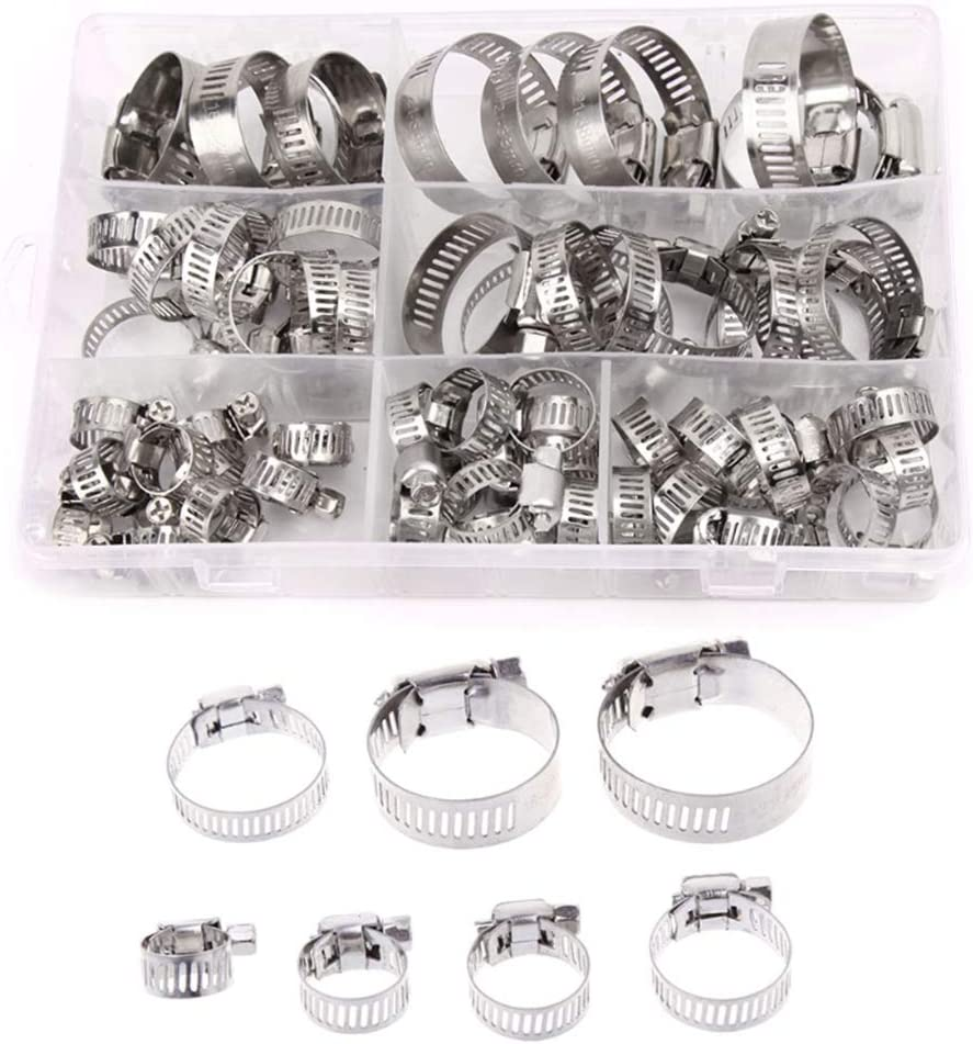 WhyTin Lot de 60 colliers de serrage r/églables en acier inoxydable 7 tailles 8 mm /à 38 mm