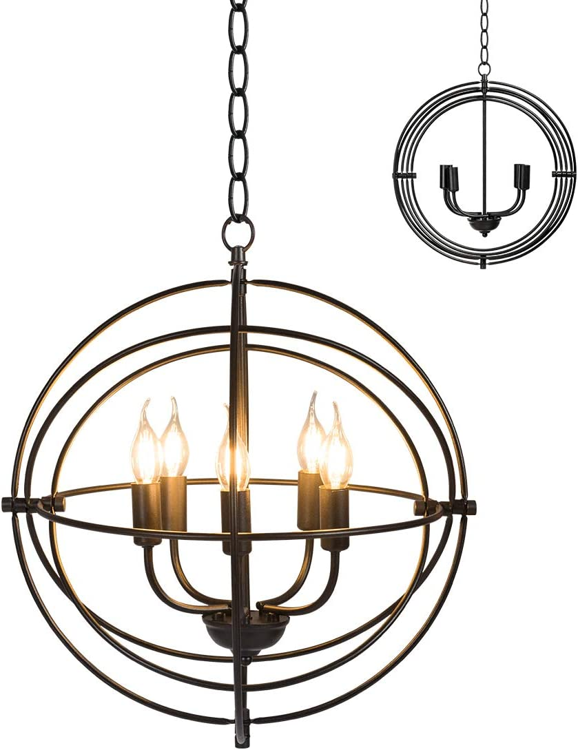 Tangkula 5 Light Pendant Light, Rustic Metal Chandelier with 39.5 Iron Chain, Ceiling Hanging Light Fixture, Folding Chandelier for Indoor Kitchen Island Dinning Bed Living Room Entrance Black