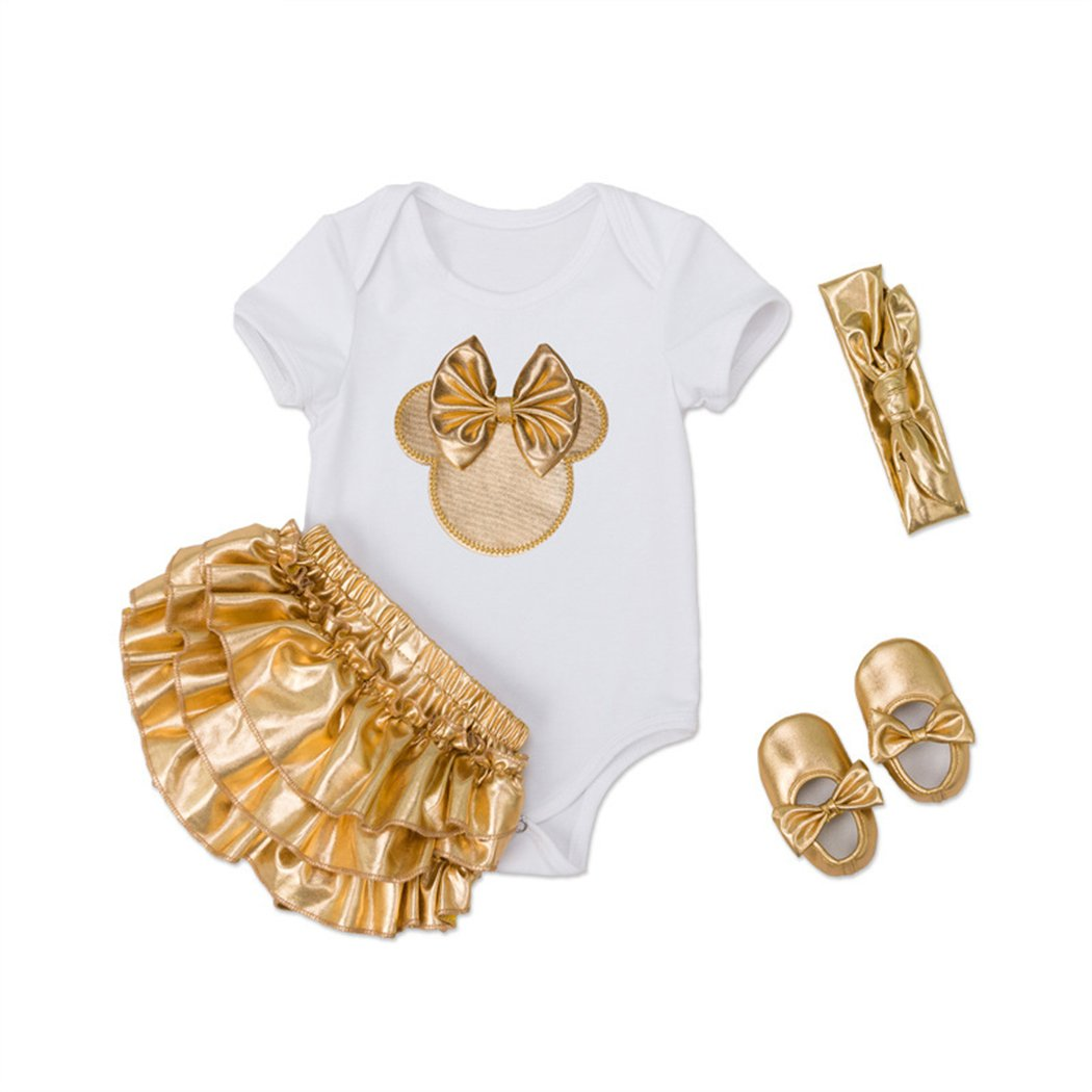 balababy Baby Girls Romper Suit 4st Birthday Party Dresses Newborn Decal Gold Romper Set Baby Girls Suits
