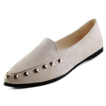 Women s Flats Rivet Ladies Comfy Shoes Soft Slip-On Casual Boat Shoes 8ecaaa00fb
