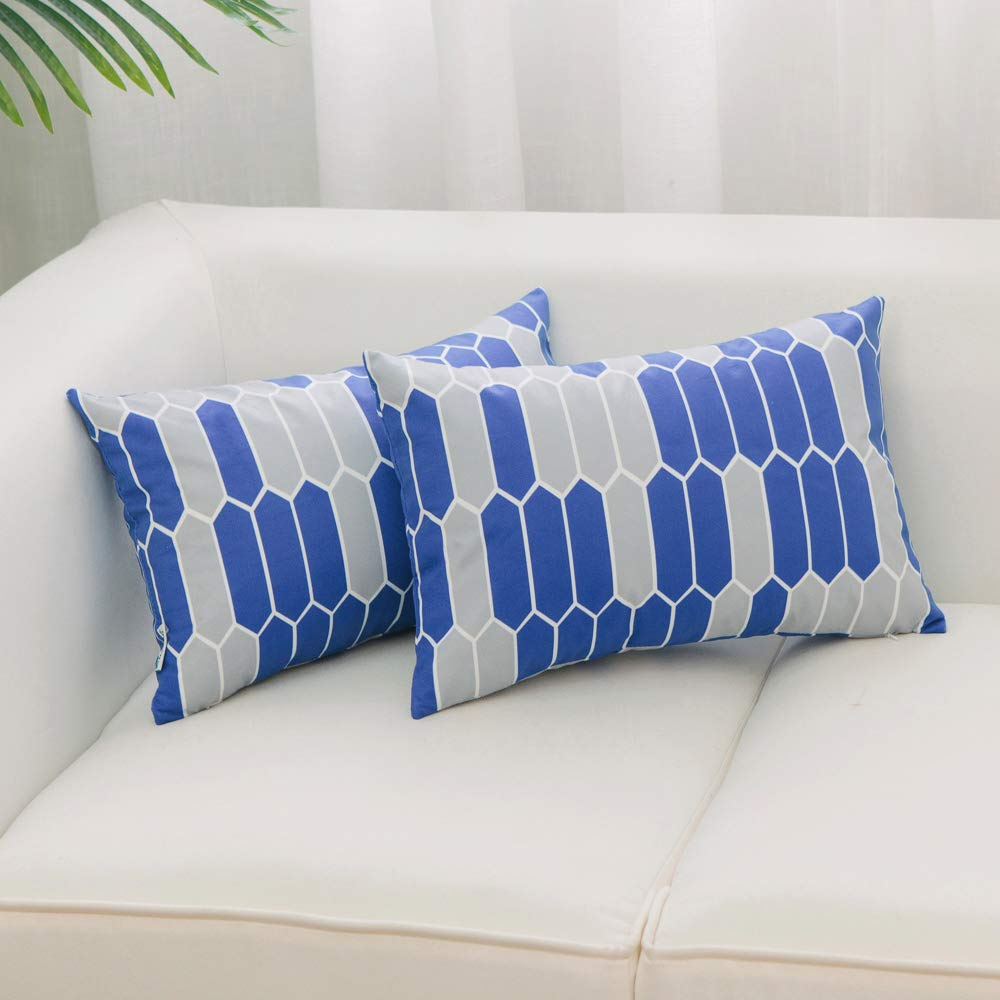 HWY 50 Throw Pillows Covers Sets Cushion Cases for Couch Sofa Bedroom Soft Decorative Simple Geometric Navy Blue Print 18 x 18 inch Pack of 2