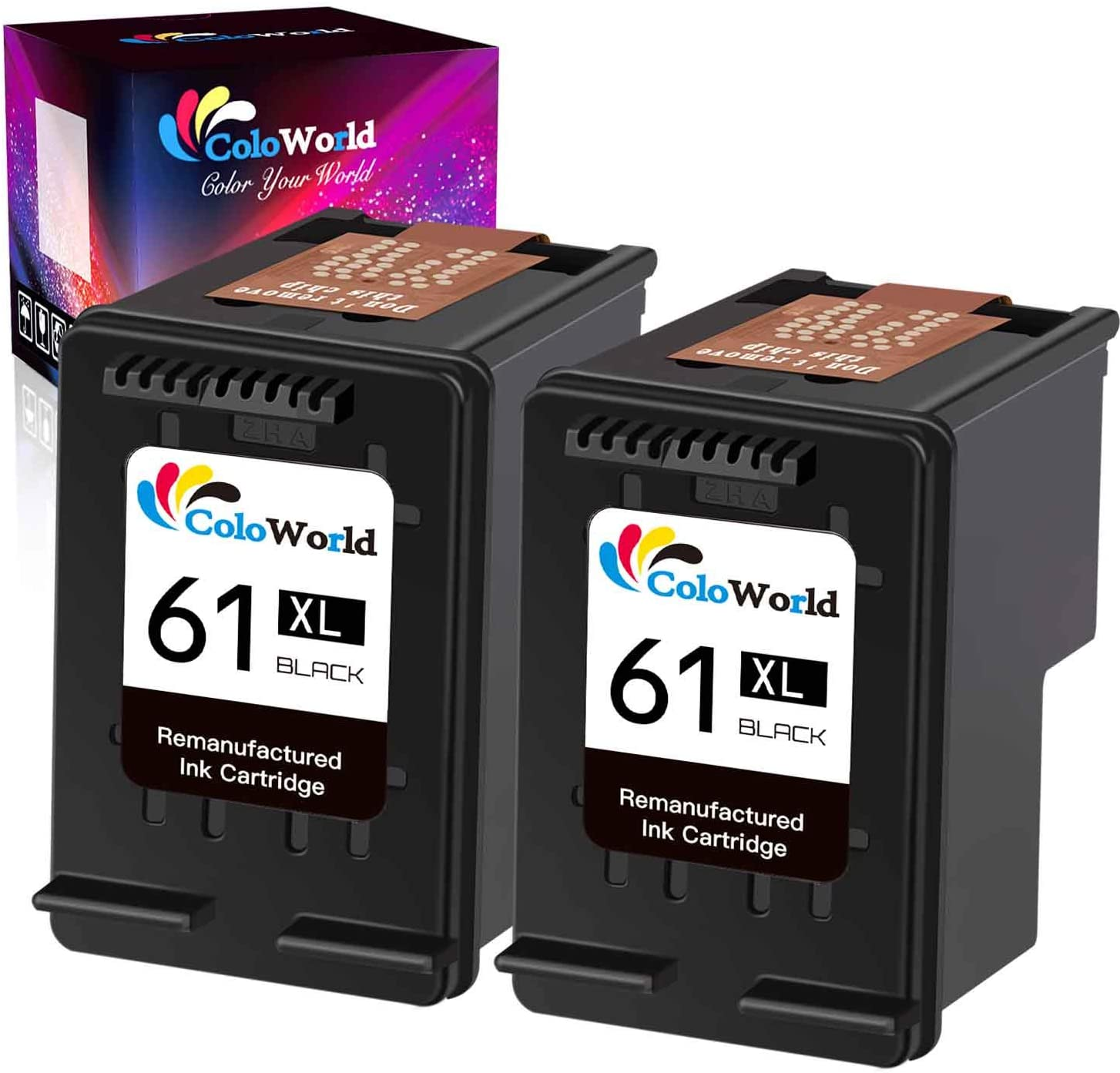 ColoWorld Remanufactured Ink Cartridge Replacement for HP 61 61XL Used for Envy 4500 5530 4502 OfficeJet 4630 4635 4632 Deskjet 2540 3050 3510 1000 1510 2542 1010 2541 Printer (2 Black,2 Pack)