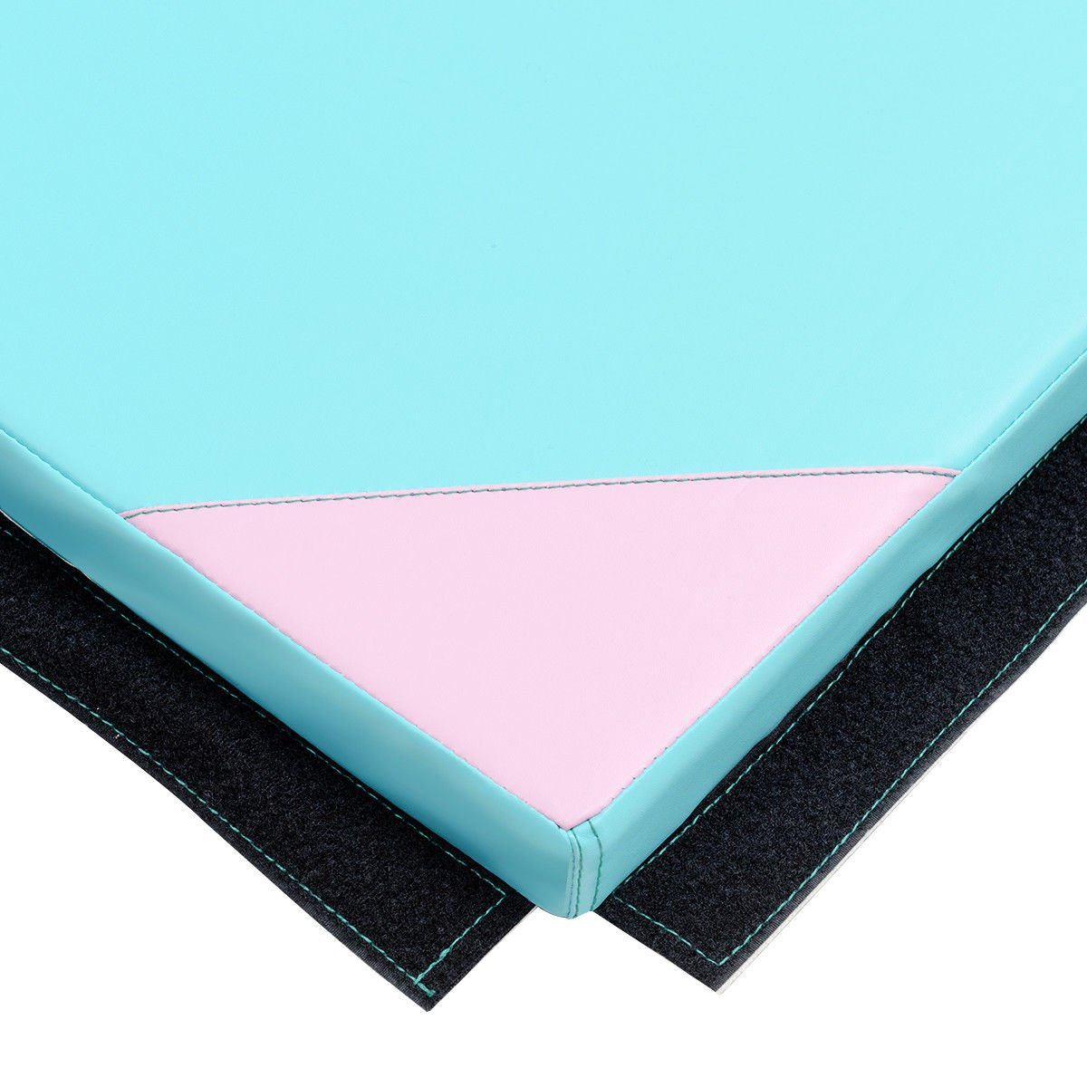 Giantex 4'x10'x2 Gymnastics Mat Thick Folding Panel for Gym Fitness with Hook & Loop Fasteners (Blue/Pink-Small Triangle)