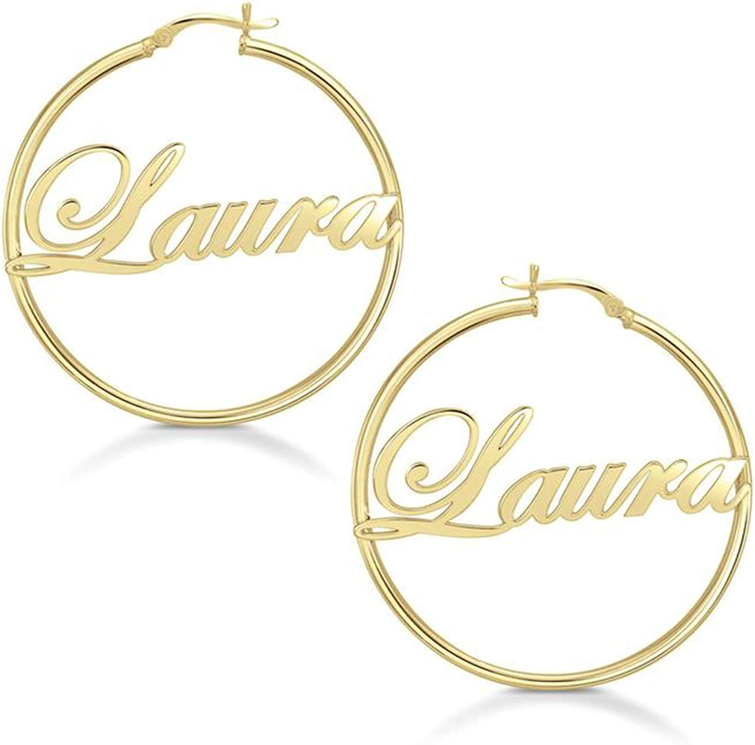 Name Hoop Earrings   Large Hoop Earrings in Sterling Silver Yellow Gold or Rose Gold  Name Earring  Personalized Jewelry  Name Jewelry
